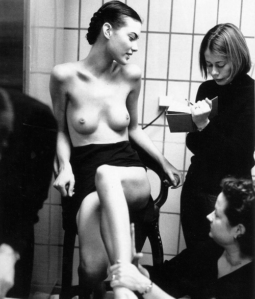 1972projects:  Shalom Harlow, backstage at the Versace couture show in Paris, 1997