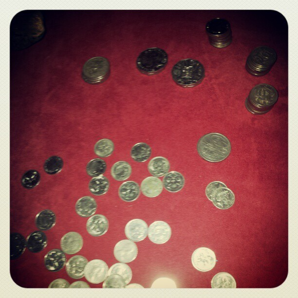 Emptying the last of my spare coins box so @no_jinxes and I can eat tonight.  (Taken with instagram)