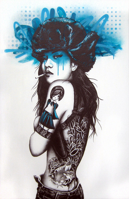 findac: Killer Instinct - Single layer stencil with freehand spitting, acrylic and Montana Gold spray paint on 61 x 92 linen canvas