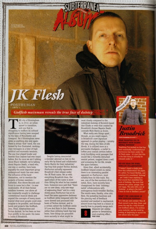 Lead review in Metal Hammer of JK FLESH - 'Posthuman'.