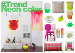 Enjoy neon trend at home ! 1. Vase / La Tête au Cube 2. Cushion Mikado Series / Paleolochic on www.etsy.com 3. Bow Bin / Cordula Kehrer 4. Plate Architecture / www.designdecollection.fr 5. Neon salt pepper / D'Istria 6. Key ring Space Invaders skull / La Tête au Cube 7. Samantha Side chair / www.projektbauhaus.net 8. Vase / Adonde? 9. Lamp / Adonde? 10. Night night cushion hand made / www.kissher.co.uk 11. Screen print / Ampersand shop on www.etsy.com