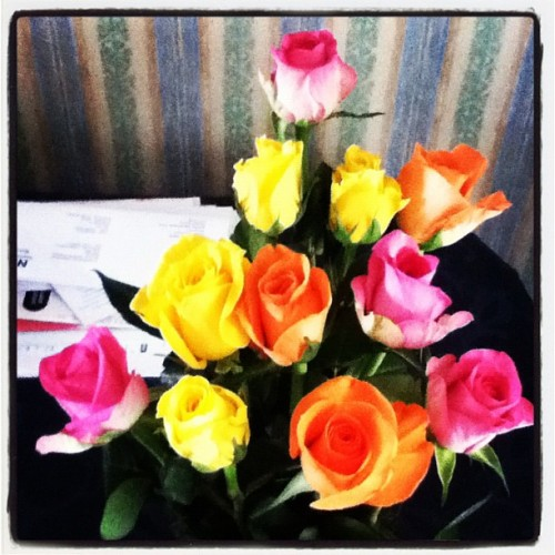 Welcome home flowers! #roses #colourful #love  (Taken with instagram)