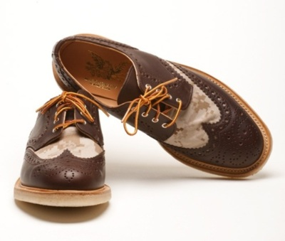 "Mark McNairy ""Chocolate"" Country Brogue Shoes The latest footwear iteration from designer Mark McNairy arrives in the form of a ""Chocolate"" digi-camouflage Country Brogue Shoe for Spring/Summer 2012. Donning a rich brown leather upper, the pair's toebox and vamp is treated in a dust-colored digi-camo motif. The pair is rounded out by a traditional crepe outsole for added comfort. Retail is set at €309 EUR (approximately $406 USD). Availability is now offered through Soto Berlin Online Store."