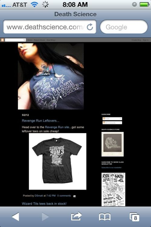 Www.deathscience.com representing our Brothers from the East! Yours truly heading their site! Check them out buy their shit! Ride hard party harder!