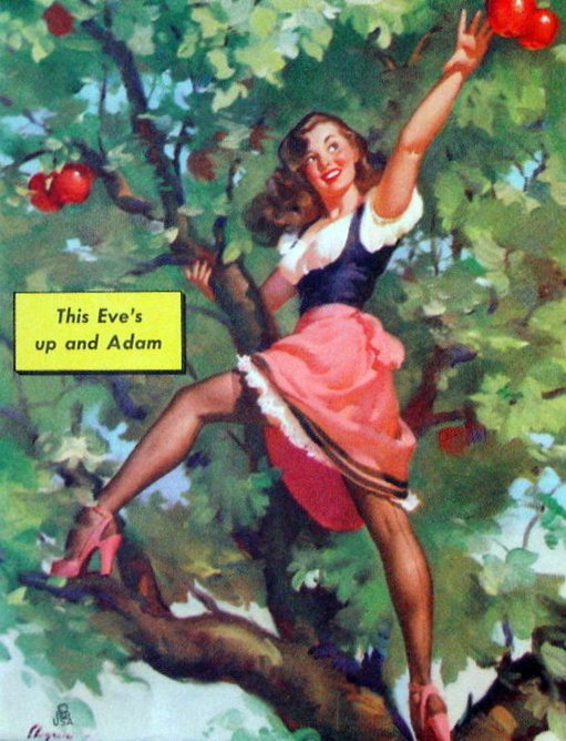 gil-elvgren-pinups:  This Eve's Up and Adam - Gil Elvgren 1948