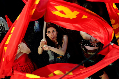 Photograph: Aris Messinis/AFP/Getty Images Supporters of the Greek Communist party (KKE) listen to a pre-election speech by its general secretary, Aleka Papariga, in Athens. The upcoming Greek general election will take place on 6 May. Members of our Greece - life in an economic crisis Flickr group have been sharing their views on what the elections mean to them.