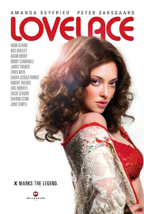 "Amanda Seyfried is playing porn star Linda Lovelace in the upcoming movie ""Lovelace."" The poster for the film was just released, with the blonde actress transformed into a brunette with the help of a 1970s style wig. To prepare for the role, she watched Lovelace's iconic porn film ""Deep Throat,"" Seyfried recently told Glamour magazine. HOT SHOTS: Amanda Seyfried. The first thing she noticed? ""What surprised me is the amount of pubic hair!"" she said. ""I'm pretty sure I would never do a full frontal in a movie—for personal reasons, I wouldn't really want to show that."" Seyfried has, however, showed other private parts in films, most recently in the 2009 movie ""Chloe,"" where she had a lesbian sex scene with co-star Julianne Moore."