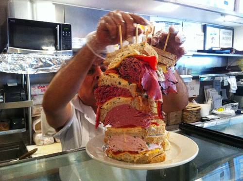 The Jackpot Sandwich from Lansky's on the UWS has SEVEN POUNDS of meat. Sign me up.