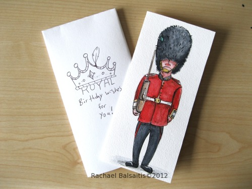 Here's another birthday card for a friend (so many birthdays recently!). (The English/Royal guard is an inside joke.)