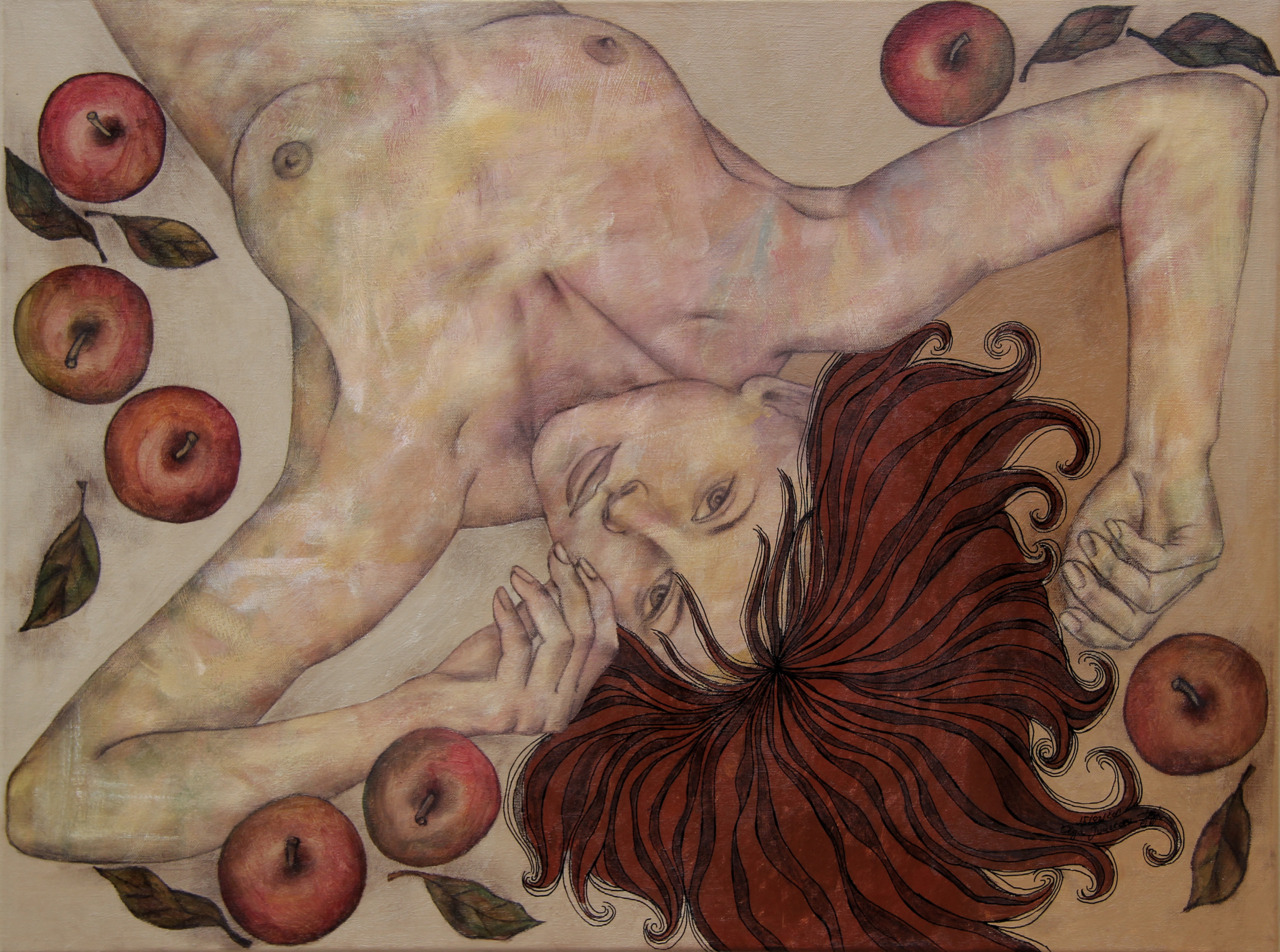 EDENacrylic on canvas, sepia pencil, acrylic marker80x60 cm2011