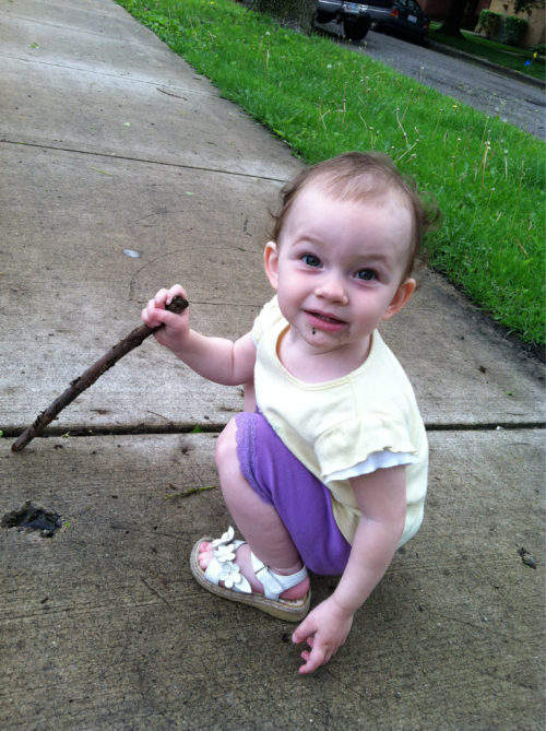 Walk around the neighborhood with no stroller. Played in mud with sticks, went in that spooky abandoned park behind a church, and saw baby geese on the Chicago river.