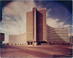 The Housing & Urban Development building in DC, around 1968 when it was completed. HUD office building, Washington, D.C., not before 1968 / Ben Schnall, photographer. Marcel Breuer papers, Archives of American Art, Smithsonian Institution.