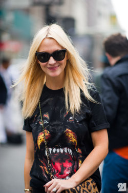 Zanna Roberts Rassi in the awesome Givenchy Shirt during NYFW SS12