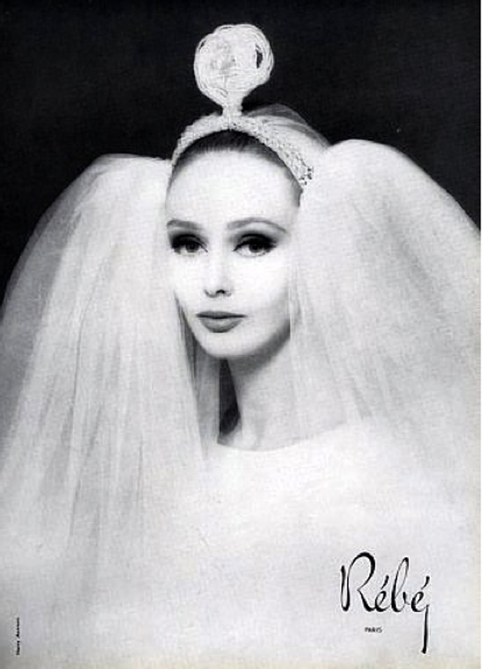 theswingingsixties:  Ina Balke modeling a wedding veil by Rèbè, 1963. Photo by Harry Meerson.