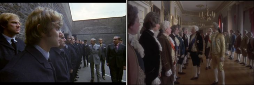 "Similar shots taken from ""A Clockwork Orange"" (1971) & ""Barry Lyndon"" (1975)."