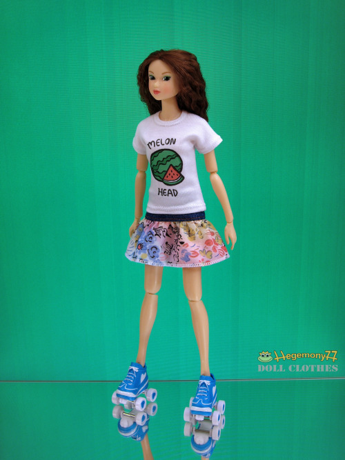 Momoko doll in Melon Head T shirt colorful floral skirt and roller skates
