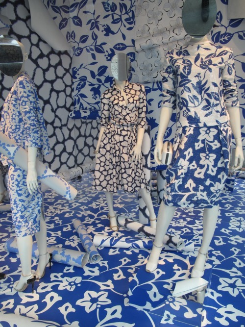 Wallpaper dressing in the windows at @DVF in New York. WGSN street shot