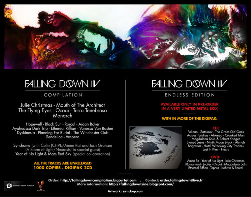 The Falling Down IIV compilation, featuring our exclusive collaboration with Mars Red Sky, is now available here: http://fallingdownzine.blogspot.fr/2012/04/falling-down-iiv.html http://fallingdowncompilation.bigcartel.com Enjoy !!
