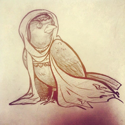Also, why not, a princess bird. #illustration (Taken with instagram)