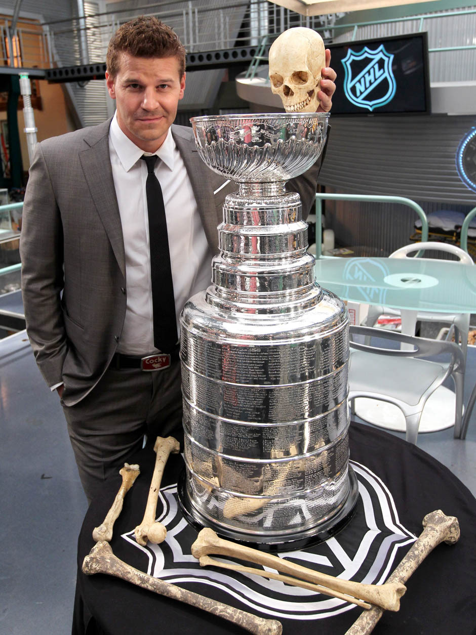 "nationalpostsports:  This is for all you ""Bones"" fans: The Stanley Cup dropped by the television show's set on Wednesday. We don't know whose skull that is, but click through for more photos."