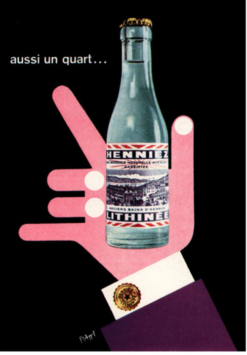Celestino Piatti Illustration  Poster for a Swiss mineral water. From Graphis Annual, 1958/59.