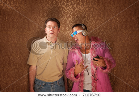 Handsome Latino guy listening to music while his friend is petrified Searched for: eye roll