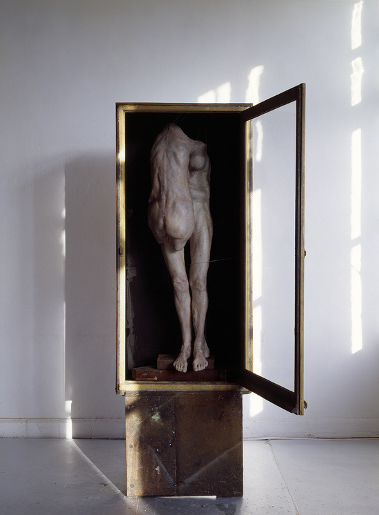 myxomat0sis:  Berlinde De Bruyckere Piëta, 2007Wax, epoxy, metal, wood and glass Showcase: 180 x 85 x 48 cm Pedestal: 62 x 72 x 58.5 cm