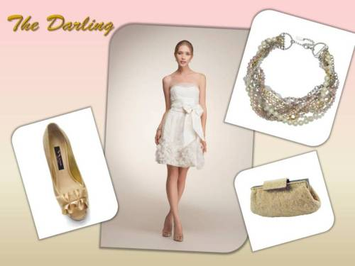The Darling look is perfect for the Bride who needs a sweet chic ensemble for her Bridal Shower or a second look for the reception. Mix gold and ivory hues from head to toe with the Nina Mazey Champagne clutch and the Nina Monique pearl and crystal necklace.  Dress: Anne Barge Farrell Dress $1,099.00 Aisle $2,410.00 Retail Handbag: Nina Mazey Champagne $102.00 Aisle Necklace: Nina Monique $155.00 Aisle Shoe: Nina Evelixa Pump in Gold $89.00 Aisle Shop this look now! www.theaislenewyork.com