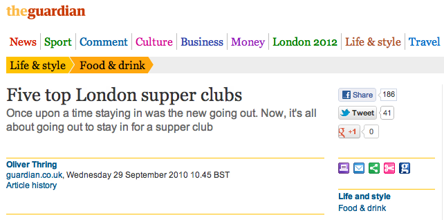 The Guardian review of Fatty Bristow's Supper Club.