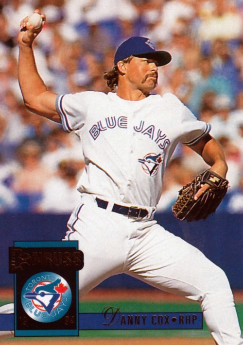 newdesultorybaseball:  Random Baseball Card #727: Danny Cox, pitcher, Toronto Blue Jays, 1994, Donruss.  Gotta love that 'stache - way to represent, Danny Cox!