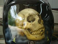 aircuda:  Airbrushed skull helmet  By my uncle Mike!