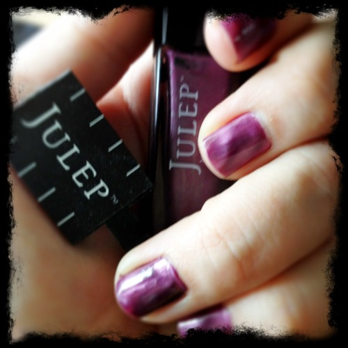 "Got my Julep box yesterday!  Couldn't wait to try the magnetic polish ""kylie"", though I think I'm going to have practice my technique with the magnet."