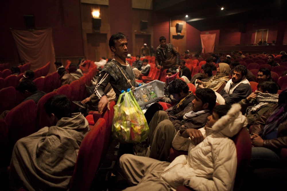 A vendor purveys refreshments at a movie theater in Shar-e Now. Photo: Jonathan Saruk The war in Afghanistan is not over. Help us tell the story. Fund our Kickstarter.