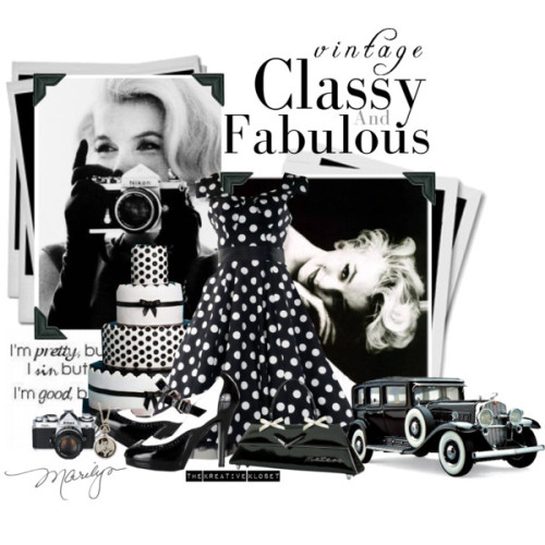 Vintage Classy by thekreativekloset featuring a vintage polka dot dress