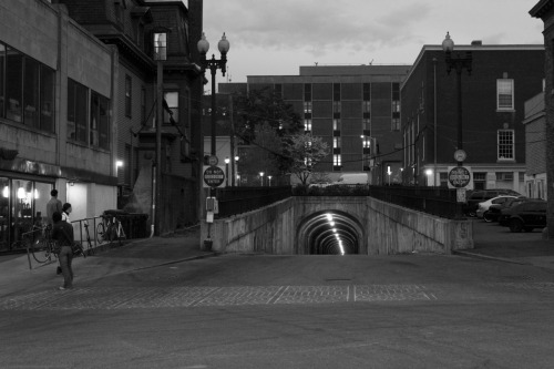 I went back to the same tunnel to reshoot, but this time at night.  The lights inside the tunnel create rings of light that contrast against the blackness.  The surrounding ambient light was just enough that I could set the camera on a relatively low ISO without underexposing the image.  I really like the way the sky looks in this particular shot.  It was actually much darker outside than this image seems.