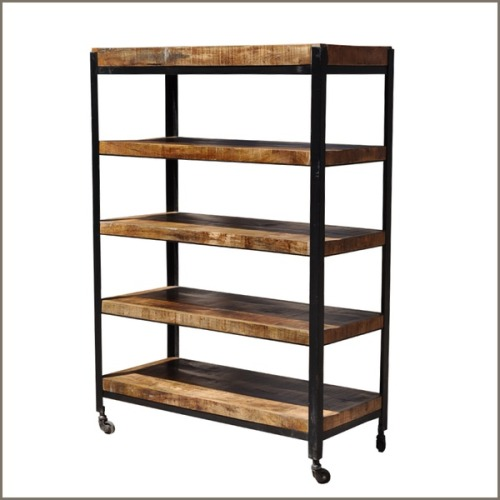 Our latest pin from the Artisan Collection on Pinterest. Industrial 5 Shelf Iron & Mango Rolling Open Rack