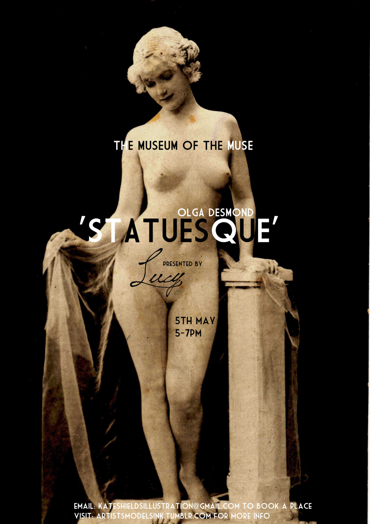 THIS SATURDAY- 'Statuesque' is our last Museum of the Muse session at the Artist Residence hotel. Life model Lucy has been inspired to create a drawing session around Olga Desmond- reportedly the first woman to be naked onstage. She'll be creating a series of poses based around the 'tableaux vivants' of the early 20th Century. You can book a place by clicking here.