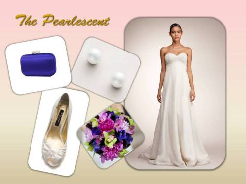 "The Pearlescent sets the mood for luster and shine. Perfect for the Bride who loves her pearls and the elegance that these gems embody. Get this look with a strapless sweetheart A-line gown by Junko Yoshioka. The ivory silk chiffon is covered in faux pearls which fade into a floral pattern at the hem of the dress. Pair the simple Nina Elizabet Stud earring for a classic look. Add your ""Something Blue"" with the Nina Frida clutch in Electra blue for that special pop of color.  Dress: Junko Yoshioka Gemma Gown $2,199.00 Aisle $6,939.00 Retail Earring: Nina Elizabet Stud $25.00 Aisle Handbag: Nina Frida in Electra $67.00 Aisle Shoe: Nina Forbes Pump in Ivory $79.00 Aisle"