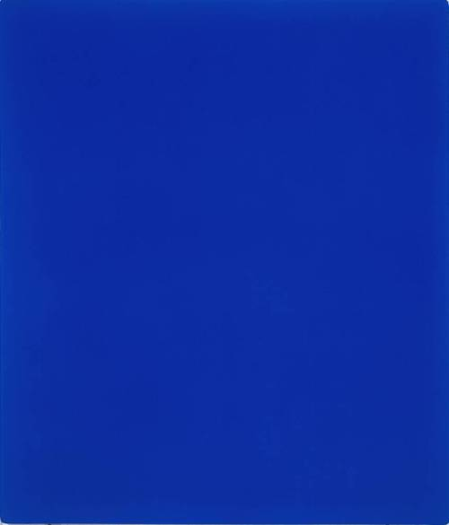 IKB 79 by Yves Klein from the Tate Collection. From their text summary: IKB 79 was one of nearly two hundred blue monochrome paintings Yves Klein made during his short life. Klein did not give titles to these works but after his death in 1962, his widow Rotraut Klein-Moquay numbered all the known blue monochromes IKB 1 to IKB 194, a sequence which did not reflect their chronological order. The letters IKB stand for International Klein Blue, a distinctive ultramarine which Klein registered as a trademark colour in 1957. He considered that this colour had a quality close to pure space and he associated it with immaterial values beyond what can be seen or touched.