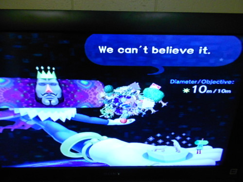slowlytosea:  Yes, I am just that good at Katamari. *on the Make The Northern Star challenge, where you have to get at least close to 10m and getting it exactly is a bit challenging because it doesn't keep count of your size.