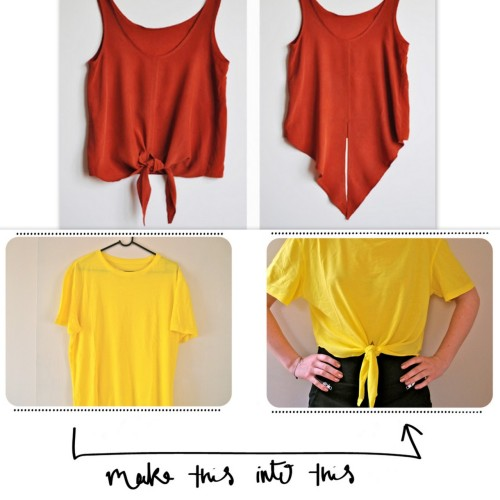 truebluemeandyou:  DIY Knockoff Ilana Kohn Crop Tee. Photo Top: Ilana Kohn Crop Tee. Remember when I posted this Ilana Kohn Crop Tee as DIY inspiration here? Photo Bottom: Clones & Clowns. Beyond Easy Tutorial for Front Knotted Crop Top from Clones & Clowns here.