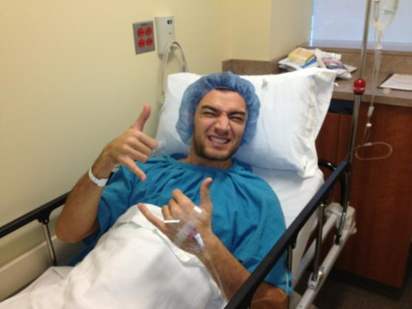 Carlos Delfino is having way too much fun at surgery. - Jon