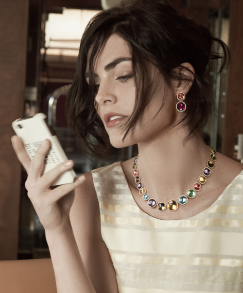 Model Hilary Rhoda in Marco Bicego hand-engraved gold jewelry with precious and semiprecious gemstones.