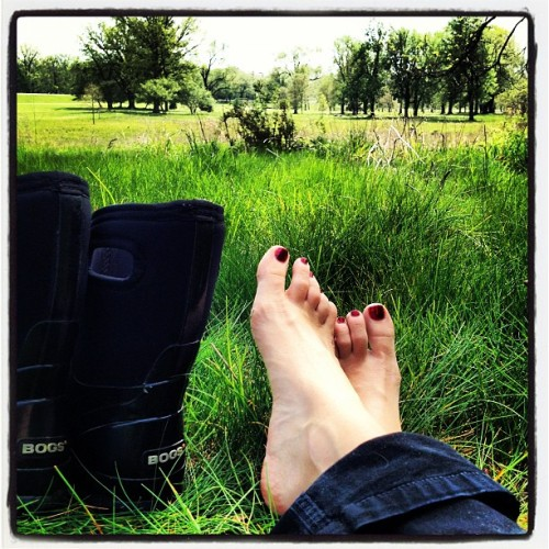 Soft grass. Kicking off the muck boots. #gr #mi  (Taken with instagram)