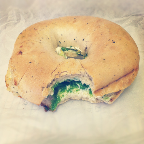 Currently eating a pesto bagel with veggie cream cheese and avocado! This is the best combination ever!