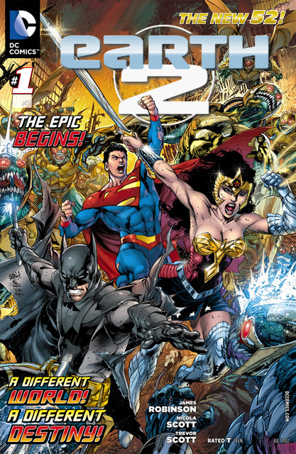 How does James Robinson's Earth 2 compare to the rest of The New 52? James Robinson's Earth 2 is a shock of a comic as it almost heads full speed into a completely unexpected direction.  Amidst a rather boring introduction to Earth 2's Batman, Superman, and Wonder Woman, legacy characters like Alan Scott and Jay Garrick finally make their New 52 debut, and it's quite obvious their presence was sorely missed.  The action scenes in Earth 2 make up for the odd characterization, however, and that action is most definitely attributed to Nicola Scott's fantastic pencil work.   Read more at http://www.brokenfrontier.com/reviews/p/detail/earth-2-1