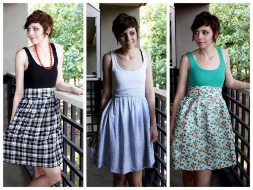 truebluemeandyou:  DIY Cheap and Easy Dress Using a Tank Top and Three Yards of Fabric. Sewing Level: EASY. Love this tutorial from Talk2TheTrees here.