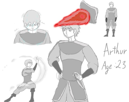 Avatar:TLA!Au Role Play - Arthur So miss-cutiepatootie talked me into drawing out roughly what Arthur wears (since he's not so important plot wise she doesn't have to) He's grey-scaled since although he is a firebender, he doesn't really work with the Fire Nation. Lighting is hard to draw >:I and fireball was our literal feels about him wearing a hat Lovino and Antonio (who are the ones responsible for the fireball and the soaking) can be seen here