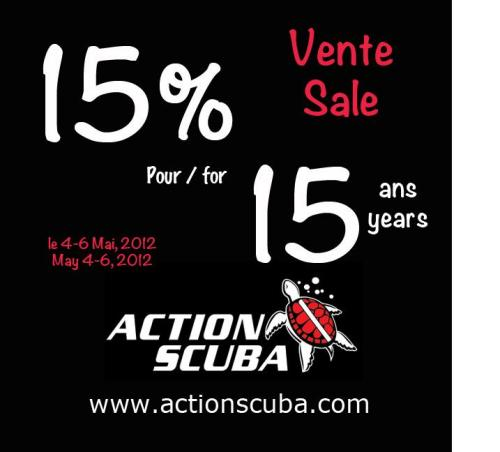 Details about the BIG scuba diving sale in #Montreal this weekend (you know, the one at Action Scuba, home of Montreal`s scuba diving experts) This weekend we`re kicking off our 15th Anniversary, and we`re doing it right; we`re helping to get you equipped for a fun summer of scuba diving with a HUGE sale.  Since announcing this sale, we`ve had a lot of questions about exactly what is on sale. Well, the short answer is … everything. To mark 15 great years, we`ll give you 15% on ALL regular priced dive and snorkel gear and swim accessories. Plus we have lots of items on special markdown for the weekend, some well above 50% off, plus great deals on our well-loved rental gear. Our prices wont be beat`this weekend. That`s huge savings on leading scuba brands like Bare, Mares, Scubapro, Suunto, Henderson, Hollis, Aqualung, Apex, Zeagle, Halcyon, Akona, Waterproof, Oceanic and more! What can you buy on sale this weekend? Masks, find, snorkels and boots for your upcoming scuba courses (whether they are with us or somewhere else) Wetsuits, gloves, hoods, and insulating layers from all the best brands. BCDs, regulators, dive computers and tanks Dive accessories like knives, lights, clips, straps, slates, reels, cleaners and even the diver staple: sea gold. Travel items like gear bags, reg bags, mesh bags, and more Rash guards, dive shorts, dive socks, t-shirts, caps, towels adn even dive jewelry Cameras, lights, housings and everything you need to take underwater photos and video Fish ID books and dive guides Swim goggles, pull buoys, kick boards and other swim accessories And more - but we`re running out of room! So drop by, May 4-6 and get yourself outfitted for a great summer. We`ll be celegrating our 15th anniversary all season long and we want to see you out diving with us!