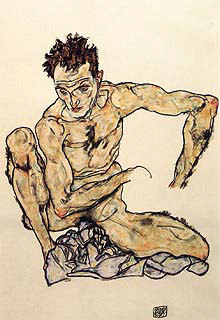 Schiele- Crouching Male Nude (Self-Portrait) 1917